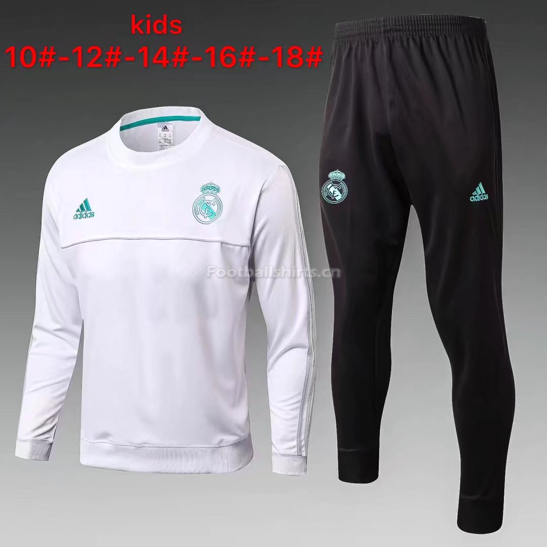 Kids Real Madrid Training Suit O'Neck White 2017/18