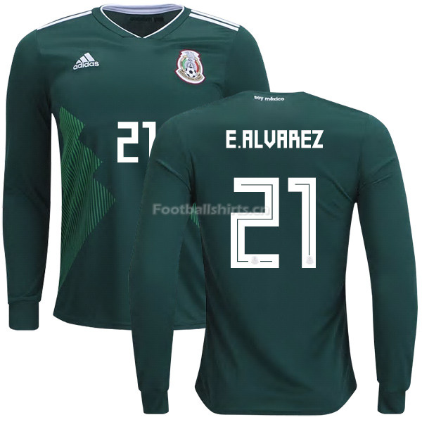 Mexico 2018 World Cup Home EDSON ALVAREZ 21 Long Sleeve Soccer J