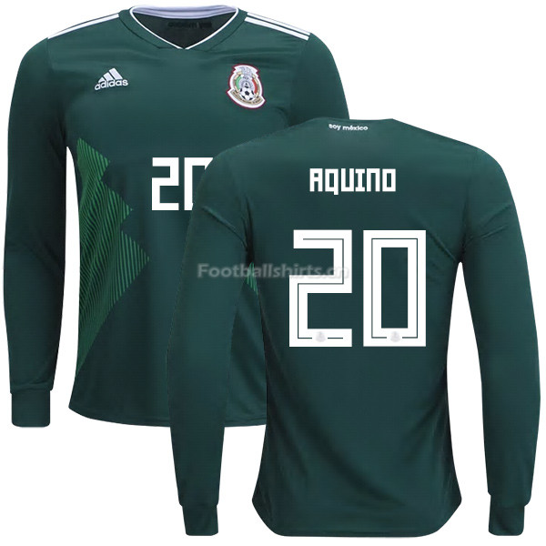 Mexico 2018 World Cup Home JAVIER AQUINO 20 Long Sleeve Soccer J