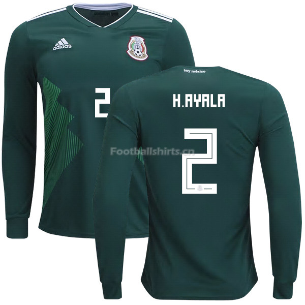 Mexico 2018 World Cup Home HUGO AYALA 2 Long Sleeve Soccer Jerse