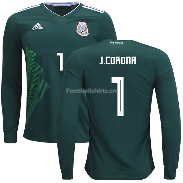 Mexico 2018 World Cup Home JOSE DE JESUS CORONA 1 Long Sleeve So