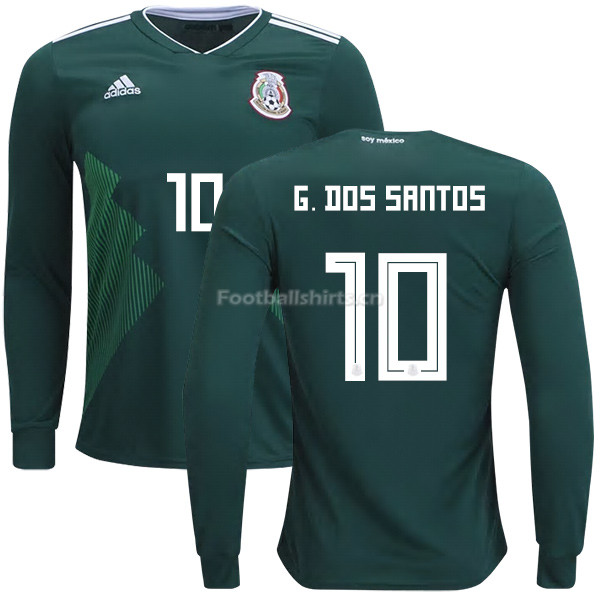 Mexico 2018 World Cup Home GIOVANI DOS SANTOS 10 Long Sleeve Soc