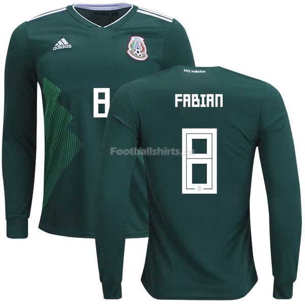 Mexico 2018 World Cup Home MARCO FABIAN 8 Long Sleeve Soccer Jer