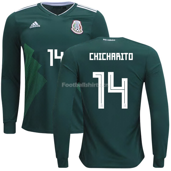 Mexico 2018 World Cup Home JAVIER HERNANDEZ 14 Long Sleeve Socce