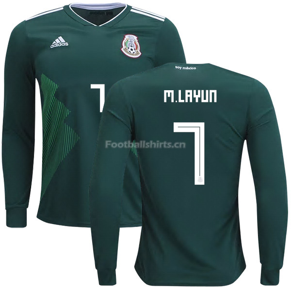 Mexico 2018 World Cup Home MIGUEL LAYUN 7 Long Sleeve Soccer Jer