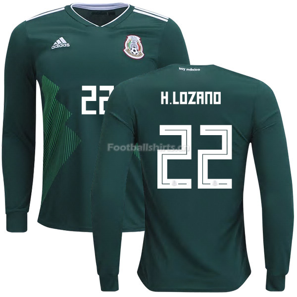 Mexico 2018 World Cup Home HIRVING LOZANO 22 Long Sleeve Soccer