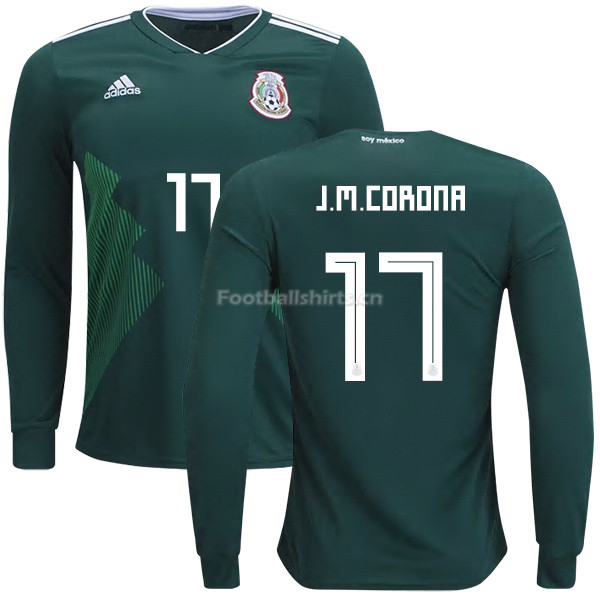 Mexico 2018 World Cup Home JESUS MANUEL CORONA 17 Long Sleeve So