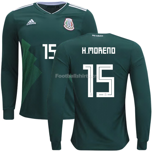 Mexico 2018 World Cup Home HECTOR MORENO 15 Long Sleeve Soccer J