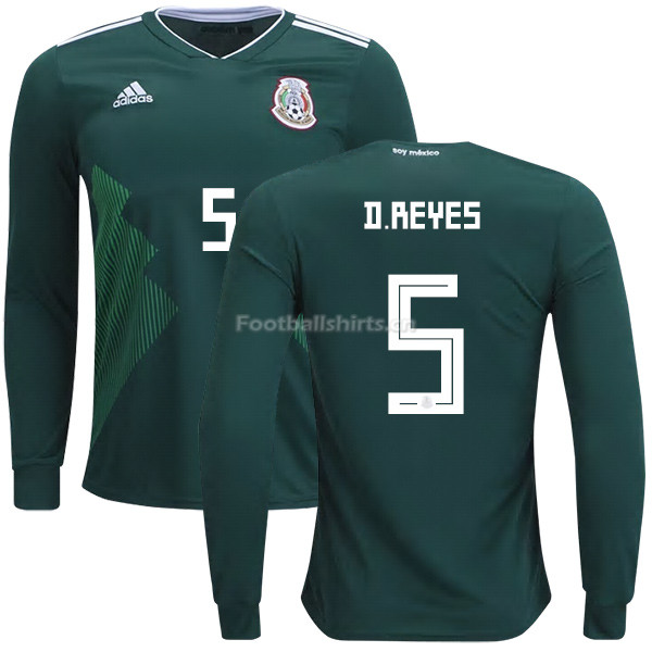 Mexico 2018 World Cup Home DIEGO REYES 5 Long Sleeve Soccer Jers