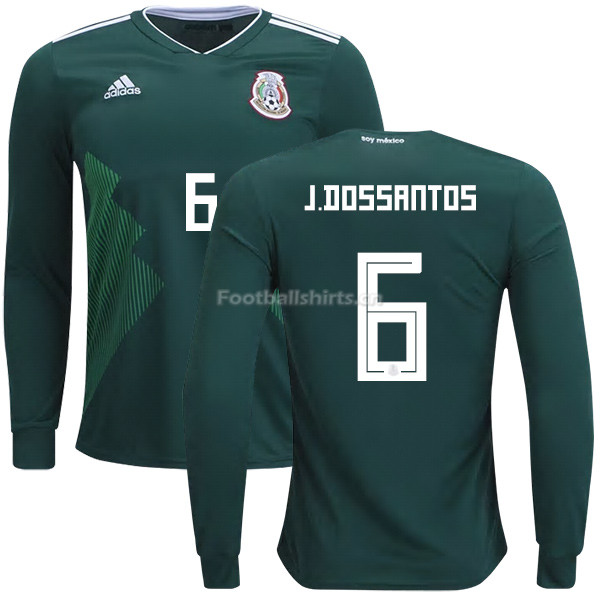 Mexico 2018 World Cup Home JONATHAN DOS SANTOS 6 Long Sleeve Soc