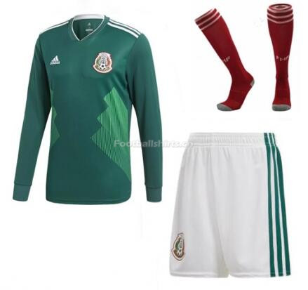 Mexico 2018 World Cup Home LS Soccer Whole Kits (Shirt+Shorts+So