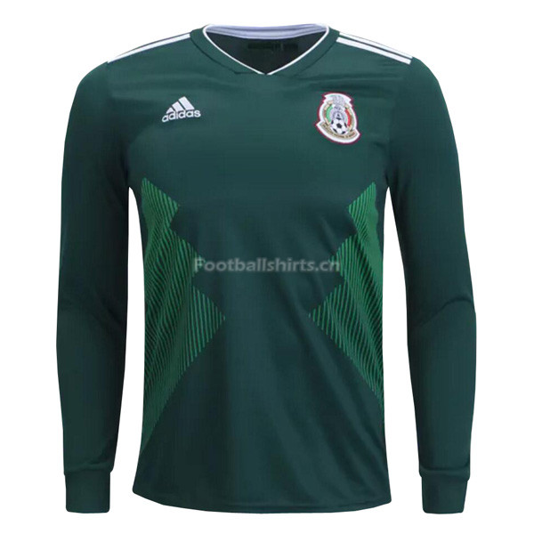 Mexico 2018 World Cup Home Long Sleeve Soccer Jersey