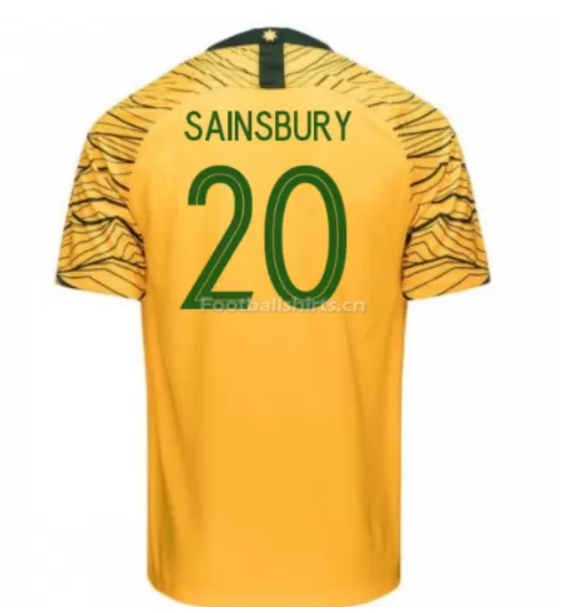 Australia 2018 FIFA World Cup Home Trent Sainsbury Soccer Jersey