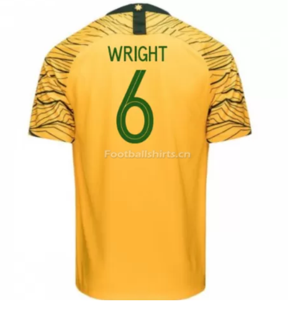 Australia 2018 FIFA World Cup Home Bailey Wright Soccer Jersey