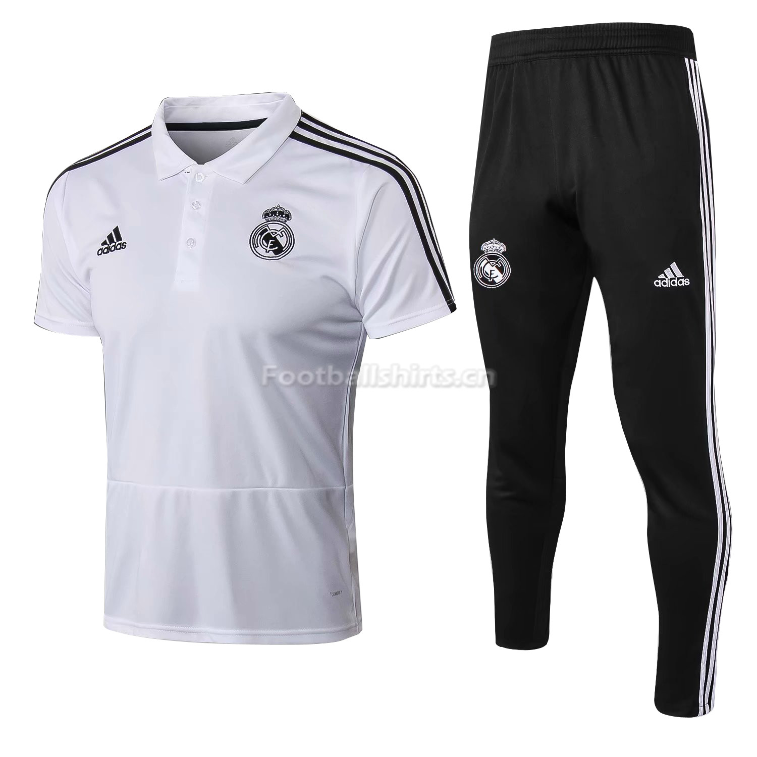 090251960 Real Madrid White Polo + Pants Training Suit 2018 19  SOCCER6288 ...