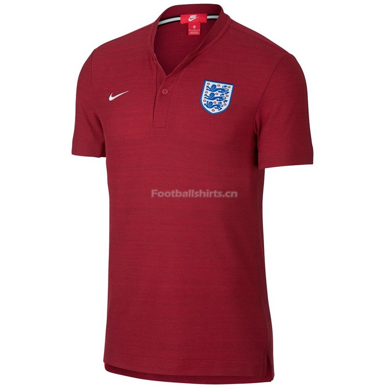 England 2018 World Cup Red Round Neck Polo Shirts