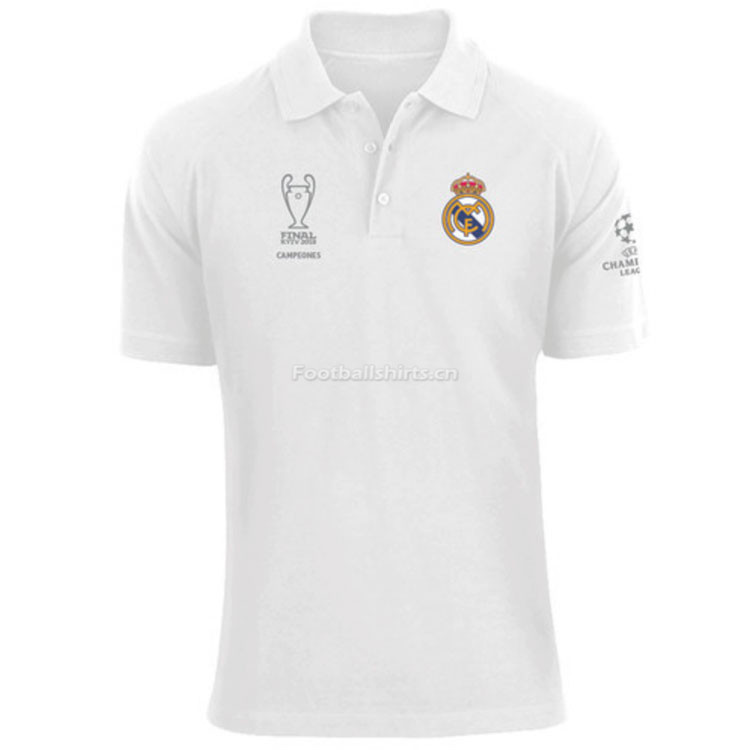 Real Madrid 2018 White Polo Jersey Shirt 13 Champions