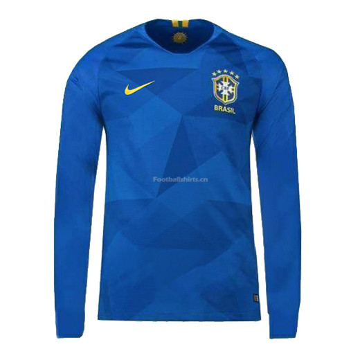 Brazil 2018 World Cup Away Long Sleeve Soccer Jersey
