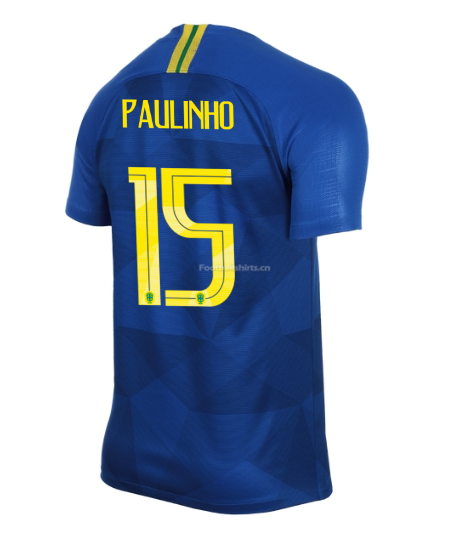 Brazil 2018 World Cup Away Paulinho Soccer Jersey