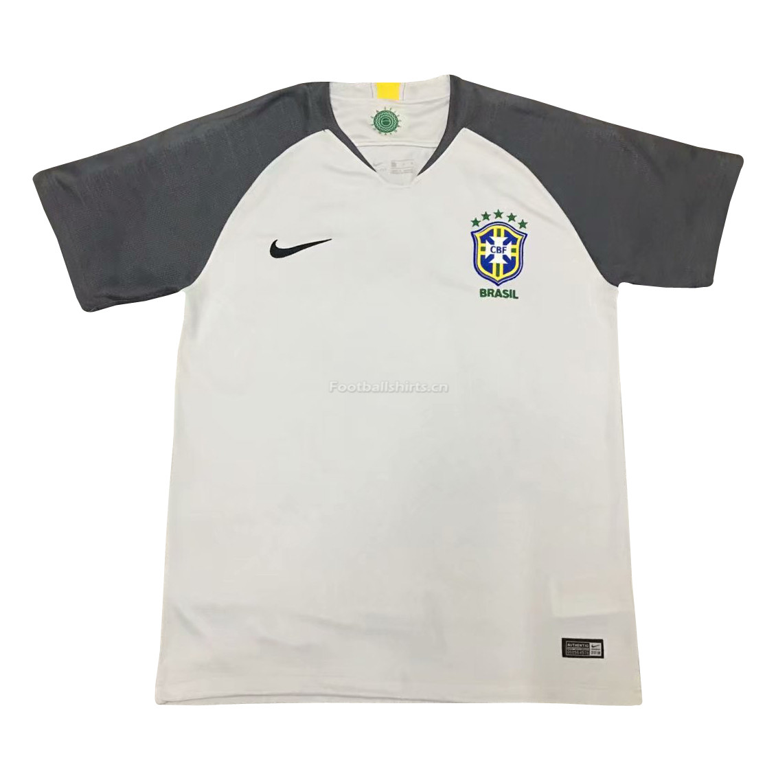 Brazil 2018 World Cup Goalkeeper Shirt Light Grey Soccer Jersey