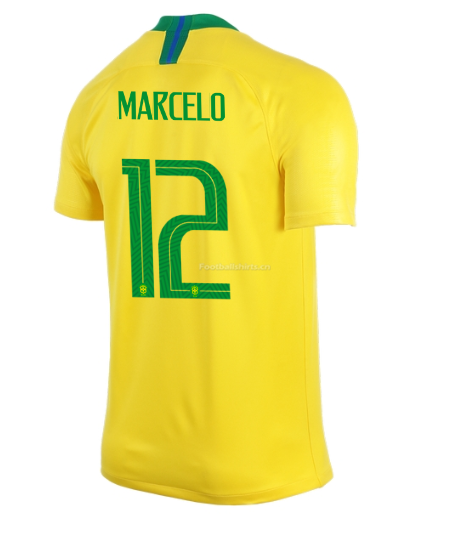 Brazil 2018 World Cup Home Marcelo Soccer Jersey