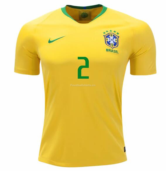 Brazil 2018 World Cup Home Dani Alves Soccer Jersey