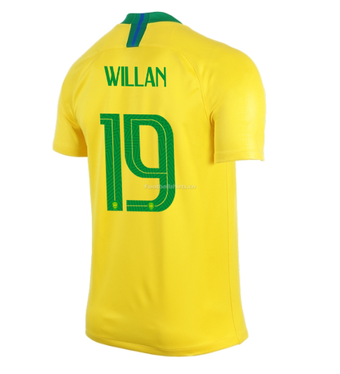 Brazil 2018 World Cup Home Willian Borges Soccer Jersey