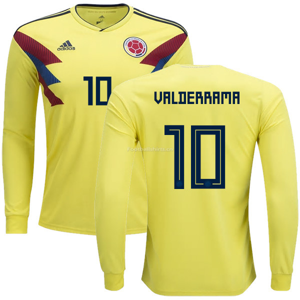 Colombia 2018 World Cup CARLOS VALDERRAMA 10 Long Sleeve Home So