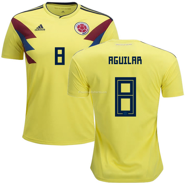 Colombia 2018 World Cup ABEL AGUILAR 8 Home Soccer Jersey
