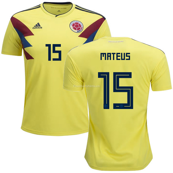 Colombia 2018 World Cup MATEUS URIBE 15 Home Soccer Jersey