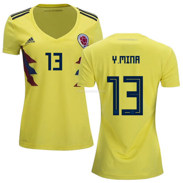 Colombia 2018 World Cup YERRY MINA 13 Women's Home Soccer Jersey