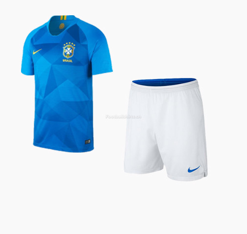 Brazil 2018 World Cup Away Soccer Uniform (Jersey+Shorts)