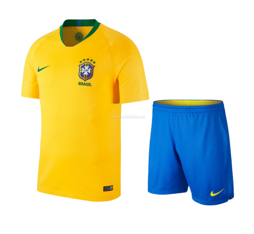 Brazil 2018 World Cup Home Soccer Uniform (Jersey+Shorts)
