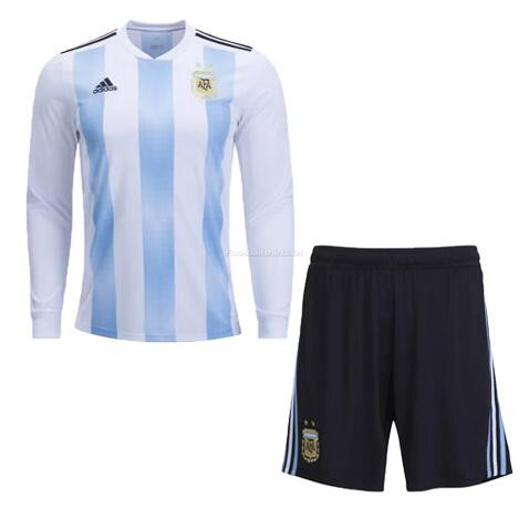 Argentina 2018 World Cup Home LS Soccer Kits With Shorts