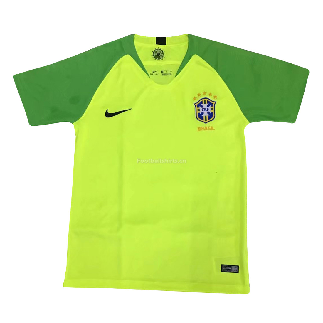 Brazil 2018 World Cup Green Goalkeeper Soccer Jersey