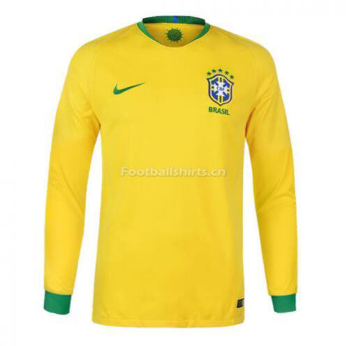 Brazil 2018 World Cup Home Long Sleeve Soccer Jersey