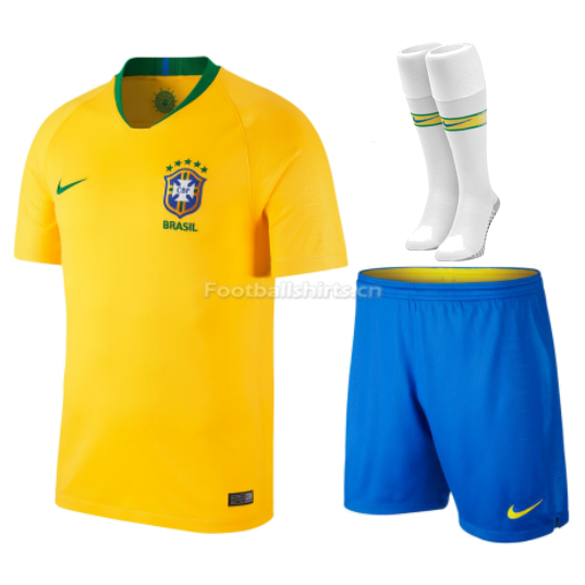 Brazil 2018 World Cup Home Soccer Jersey Kits (Shirt+Shorts+Sock