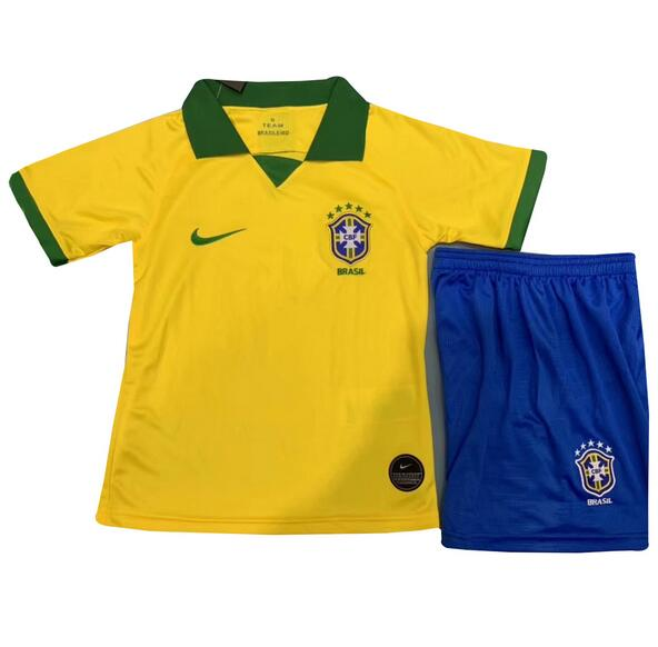 Brazil Home Soccer Kits Children 2019 Copa America