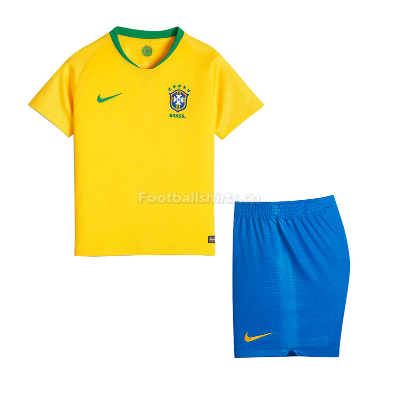 Kids Brazil FIFA World Cup 2018 Home Soccer Kit Shirt + Shorts
