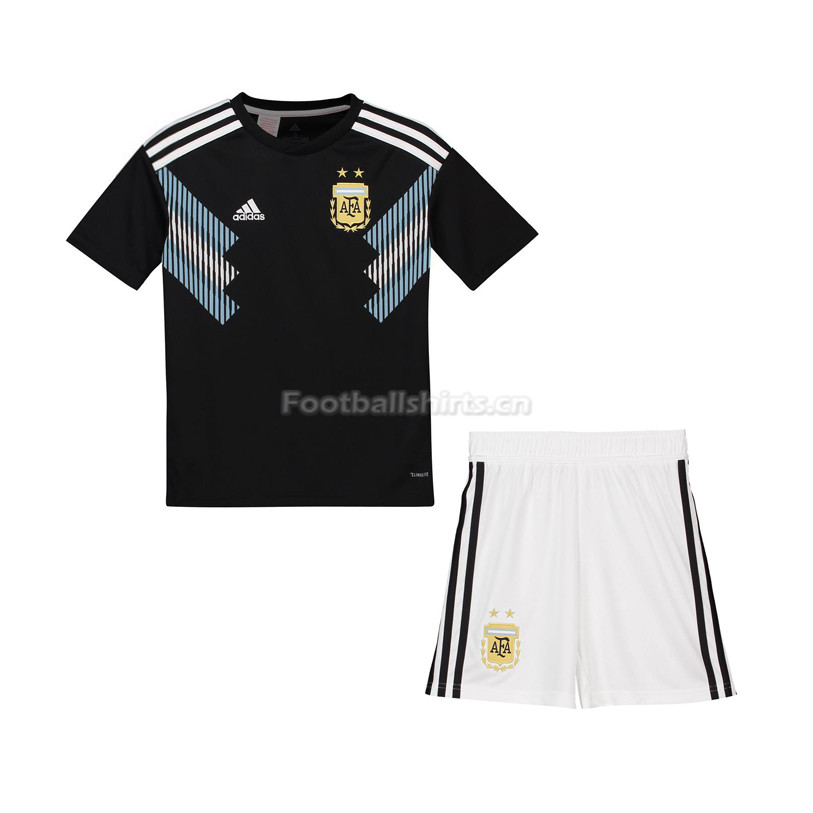 Kids Argentina 2018 FIFA World Cup Away Soccer Kit Shirt + Short