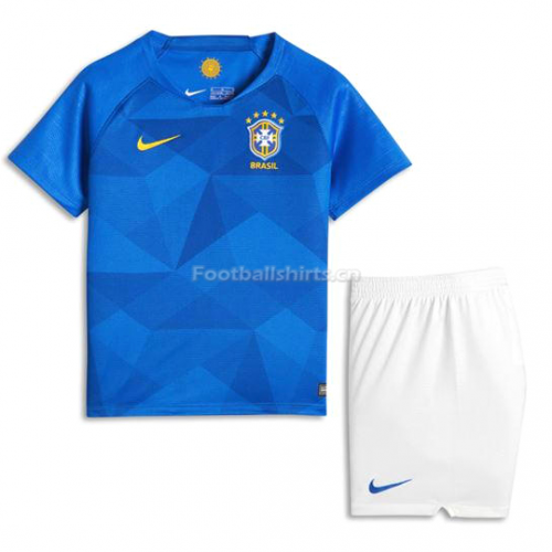 Kids Brazil FIFA World Cup 2018 Away Soccer Kit Shirt + Shorts