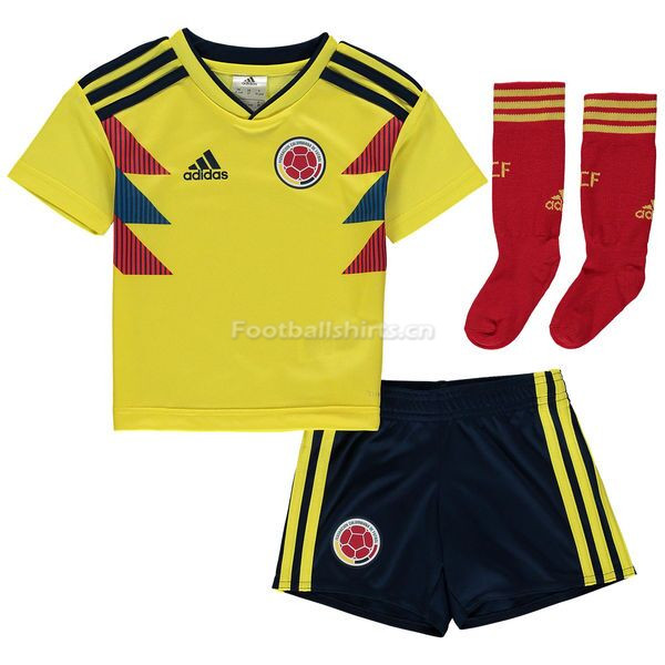 Kids Colombia 2018 World Cup Home Soccer Kit (Shirt + Shorts + S