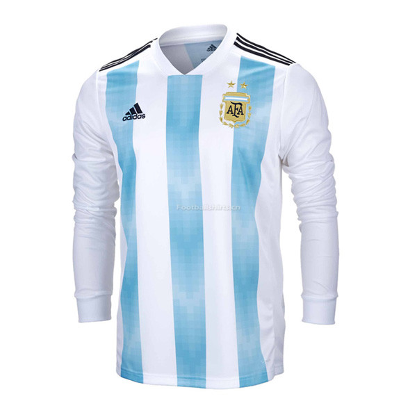 Argentina 2018 World Cup Home Long Sleeve Soccer Jersey