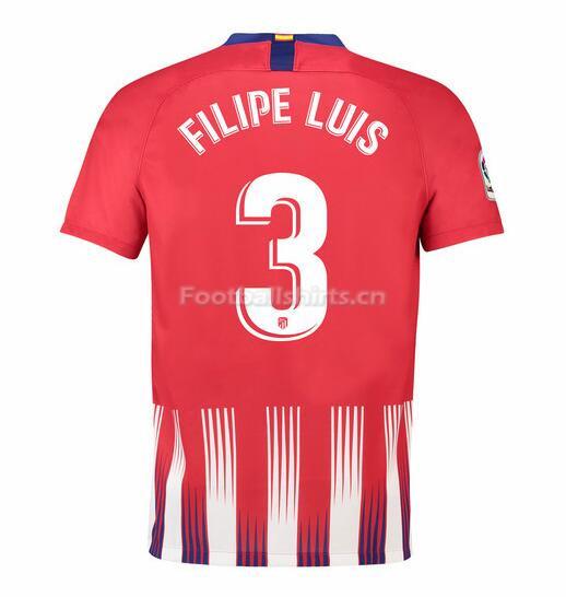 Atletico Madrid Filipe Luis 3 Home Soccer Jersey 2018/19