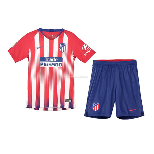 Kids Atletico Madrid Home Soccer Jersey Kit Shirt + Shorts 2018/
