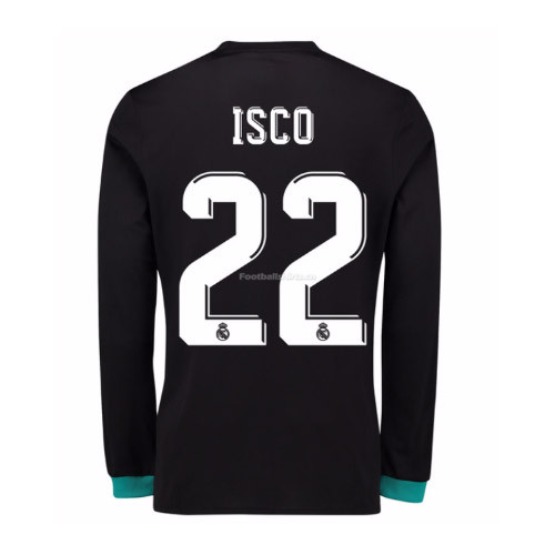Real Madrid Away Isco #22 Long Sleeve Soccer Jersey 2017/18