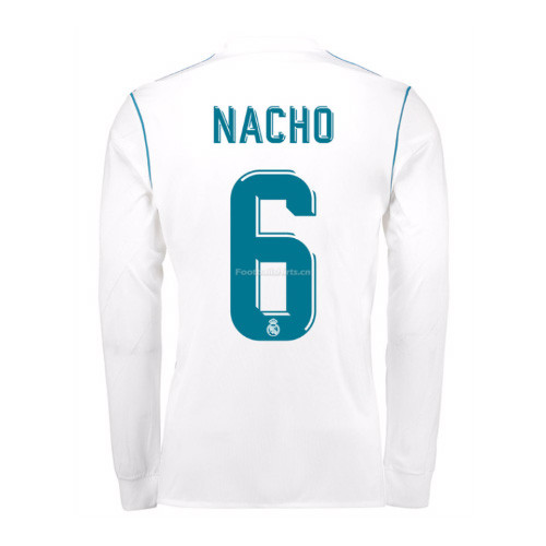 35fcceb8b70 Real Madrid Home Nacho  6 Long Sleeve Soccer Jersey 2017 18 ...