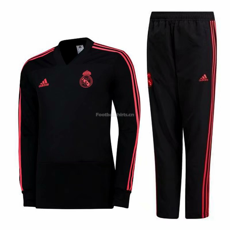 Real Madrid Black V'Neck Training Suit (Sweat Shirt+Trouser) 201