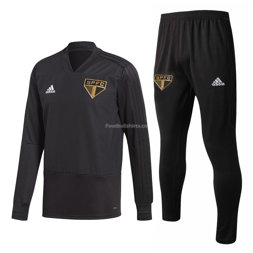 Sao Paulo FC Black V'Neck Training Suit (Sweat Shirt+Trouser) 20