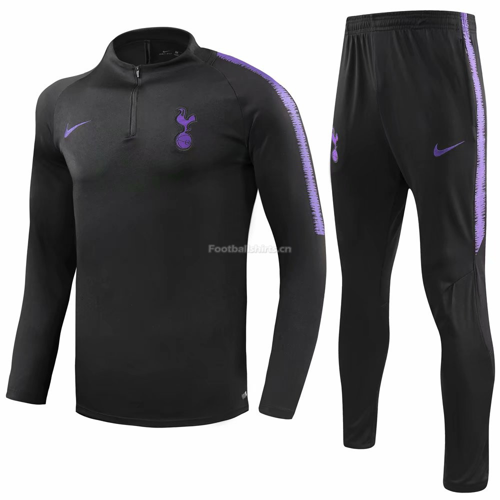 Tottenham Hotspur Black Training Suit (Sweat Shirt+Trouser) 2018